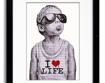 "Banksy - I Love Life boy  "" White "" - Mounted & Framed Print"