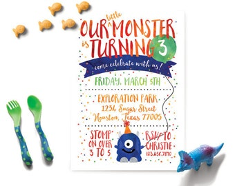 our little monster invitation, our little monster boy, our little monster birthday invitation, boy birthday invitation, monster birthday