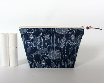 Make up pouch, cosmetic pouch, navy blue zipper pouch, bridesmaid gift, makeup pouch, organic cotton birds print