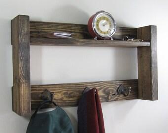 Entryway Organizer, Wood Coat Rack w/ Shelf, Rustic Coat Racks, Entryway Shelf, Key Hooks