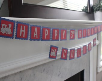 Choo Choo Train Birthday Banner, Train Birthday Banner, Vintage Train Banner, Train Birthday Party, Train Party Decorations