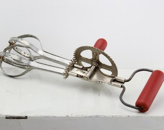 Vintage Stainless Steel Egg Beater With Red Wood Handle