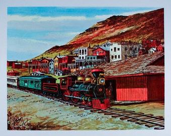 TRAIN PRINT, Trains, Train Poster, Train Art, Locomotive, Choo Choo Train, Railroad, Kids Room Decor, Boys Room Decor,  Train Room Decor