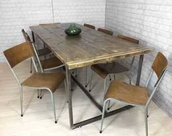 Vintage Industrial Steel Rustic Reclaimed Timber Mid Century Heals Farm Dining Table 1960s