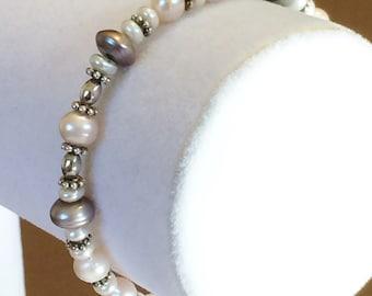"Sterling Silver Pearl Toggle Bracelet 7 1/2"""
