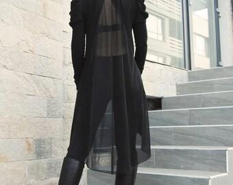 Long Tunic, Sleeves Tunic, Chiffon Tunic, Asymmetric Top, Plus Size Tunic, Loose Top, Tunic for Legging, Maxi Black Top by CARAMELfs T1215