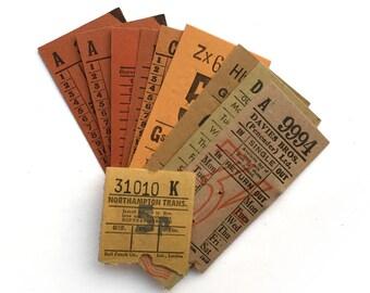 Orange, Yellow, Ochre ticket set: vintage ticket collection with 10 tickets. British Transport vintage tickets.