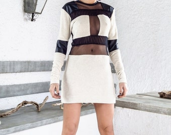 Knitted with see through and leather details patchwork mini dress - #95028