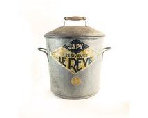 French Vintage Galvanized Wash Boiler Sterilizer, Trash Bin, Primitive Rustic Decor, Trash Bin, Moonshiner, Clothes Hamper, Storage Box