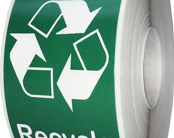 "Recycle Logo Stickers | 500 Total Recycle Labels - 1.5 x 2.5"" Oval Shape - Eco Friendly Green Print/White Print"
