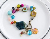 Bohemian Style Bracelet, Colorful Bracelet, Flower Bracelet, Charm Bracelet, Quirky Jewelry, Funky Bracelet, Quirky Nook, Turquoise Bracelet