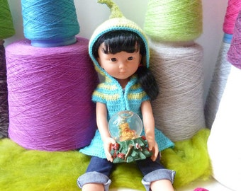 "Lutine Chéries - Crochet pattern PDF for hooded elf coat for 13"" dolls - Chéries Corolle, H4H, Minouches..."