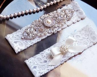 Wedding Garter Set, Bridal Garter Set, Vintage Wedding, Lace Garter, Crystal Garter Set, Pearl Garter Belt- Victoria Style- 755