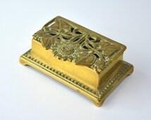 Vintage Postage Stamp Holder Brass Inkwell Vintage Ink Pot Vintage Desk Storage Vintage Desk Organiser Vintage Metalware