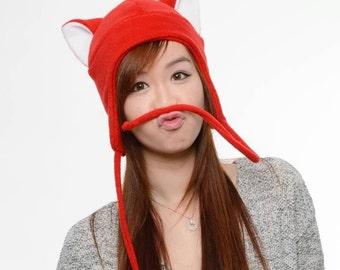 Red Cat Hat - Kitty Cat Hat - Cat Fleece Hat - Cat Aviator Hat - Cat Earflap Hat - Cat Ear Hat - Valentine Cat Hat - Cat Cosplay - Cat Anime