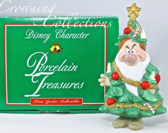 Grolier Grumpy Ornament Disney Character Porcelain Treasures Christmas Tree Snow White and the Seven Dwarfs Vintage Ceramic