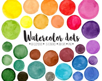 Watercolor Dots Clipart. Hand Painted Colorful Watercolour Circles, Splotches Clip Art. Round Frames, Bubbles for Blogs, Scrapbooking
