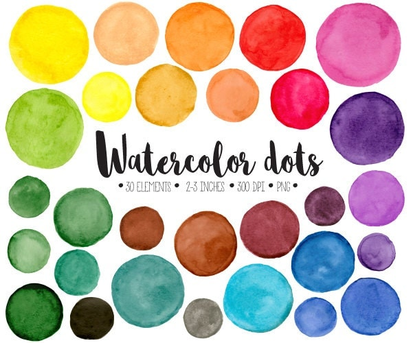 Watercolor Dots Clipart. Hand Painted Colorful Watercolour