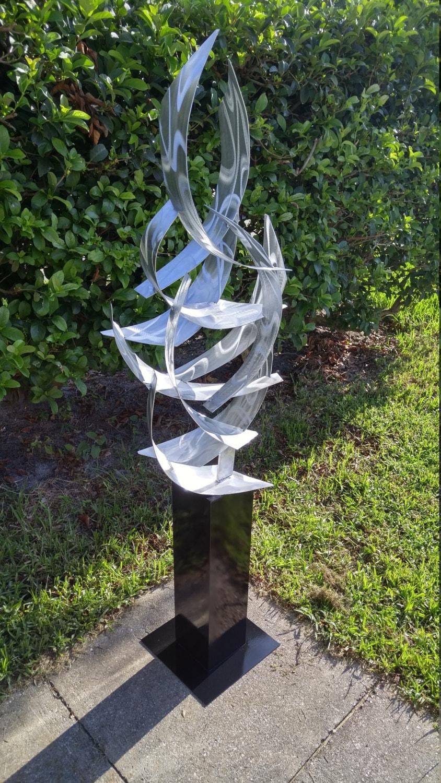 Contemporary Abstract Metal Indoor Outdoor Sculpture Large on Backyard Metal Art id=33506