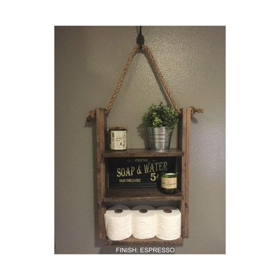 ladder shelf rustic wood and rope shelf farmhouse decor. Black Bedroom Furniture Sets. Home Design Ideas