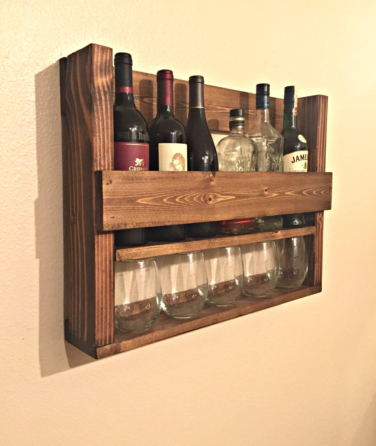 Wine Rack With Wine Glass Storage Rustic By