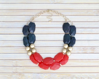 Red & Black Gold Statement Necklace, 2 Two Strand Layering Necklace, Bright Red Bubble Choker Necklace, Colorblock Necklace, Holiday Jewelry