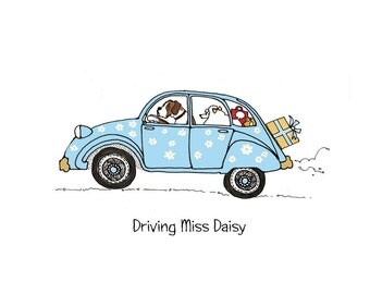 2CV - French car - dogs, driving, driving miss daisy _ customize your 2CV, downloadable file