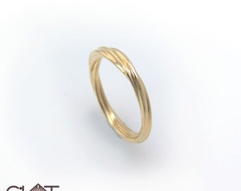 Twist Ring, gold twist ring, Gold Rope Ring.