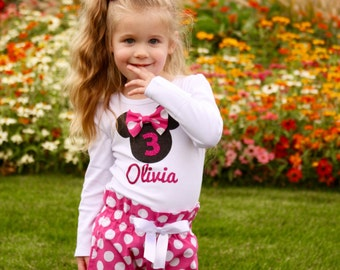 Girls Minnie Mouse Birthday Outfit, Girls Birthday High Waisted Pants Outfit | Minnie inspired hot pink birthday outfit