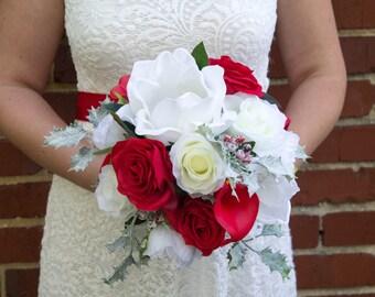 Winter wedding bouquet ~ Magnolia bouquet ~ Red white bouquet ~ Christmas bridal bouquet ~ Red wedding ~ Christmas wedding ~ Winter wedding