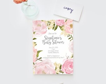 Baby shower invitation, Baby shower invite, floral baby shower invitation baby girl shower invitation baby girl invitation, baby girl invite