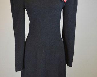 Black, 80s, Spanish Style, Polka Dot, Sweater Dress // 1980s Prom, Costume, Red, Womens Size Medium