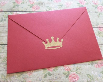 35 Gold Glitter Crown stickers, gold crown labels, princess party invitation seal, gold envelope seal