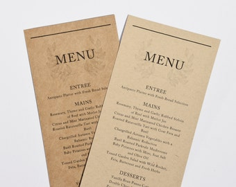 Wedding Menu Cards - Kraft Rustic Wedding Dinner Menus Printed