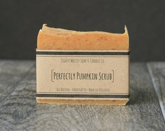 Perfectly Pumpkin Scrub - All Natural, Handcrafted, Cold Process, Vegan Bar Soap - Gentle Exfoliating Soap - Mom Gift, Girlfriend Gift
