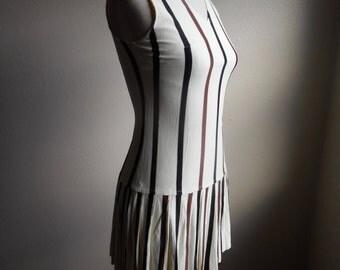 vintage 60s vertical striped drop waist sleeveless zip up back pleated gogo dancer beach party mod scooter dress flapper dress