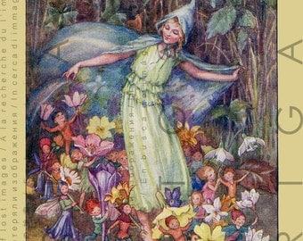 Woodland FAIRIES SPRING Celebration. Vintage Fairy Illustration. Lovely Fairy Tale Print. Digital Fairy Download.