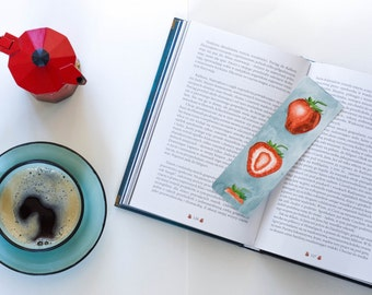 paper laminated bookmark strawberry watercolor bookmark strawberry bookmark watercolor fruit bookmark fruit art handmade bookmark painting