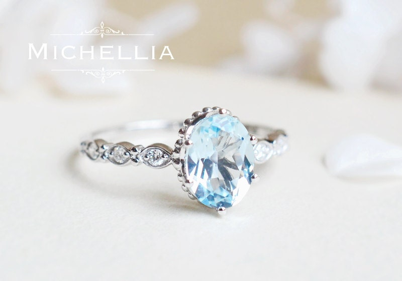 Vintage inspired aquamarine engagement ring with diamond 14k for Wedding rings aquamarine