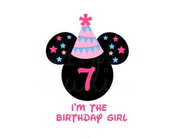 Personalized Mickey or Minnie Birthday Party Hat Banner Mickey Mouse Ears with Age Number Name Disney Party Iron On Decal Vinyl 4 Shirt 429