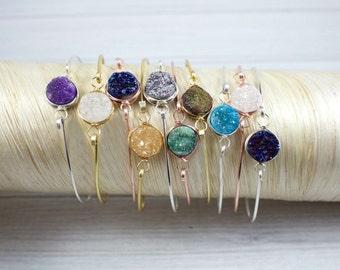 Druzy Bracelet, Druzy Bangle Bracelet, Stacking Bracelet, Dainty Gemstone Bracelet, Stackable Bracelet, Minimal Jewelry, bridesmaid Jewelry