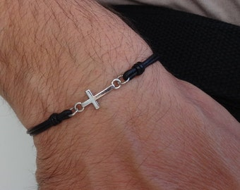 Mens Cross leather bracelet, Cross bracelet, Small cross charm leather bracelet, Friendship minimalist bracelet, christian catholic jewelry