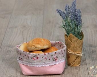 Shabby canvas bread basket