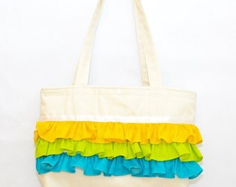 """bright-colored ruffle tote bag """"Erica"""" // white canvas tote bag with ruffles // gift for her // birthday present"""