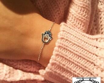 Sterling Silver Evil Eye Hamsa Hand Bracelet / Silver Hamsa Bracelet / Hand of Fatima Bracelet / Hand of Miriam Bracelet / Hamsa Bracelet