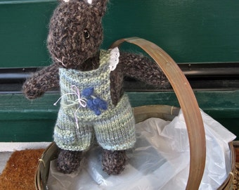 Knit Mohair Stuffed Bunny Doll; Hand Knit Collectible Heirloom Rabbit, One of a Kind/ Arielle and Teddy Bunny