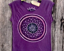 Mandala flower crop top bio organic cotton tops & tees women mulberry vintage black hand painted and hand dyed womens clothing, yoga top