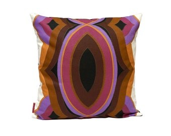 Vintage fabric cushion cover, 70s retro deco throw pillow, purple pillow 40x40 / 16x16 - Handmade with Love from Vintage Fabrics by EllaOsix