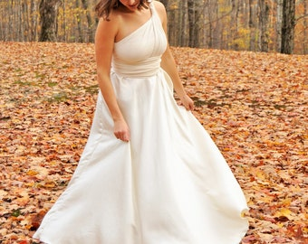 Full Length Silk Infinity Wedding Dress Made to Order with Hemp, Organic Cotton, and Bamboo