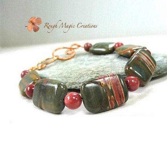 Forest Green Gemstone Bracelet. Australian Rainbow Jasper. Semi Precious Gemstones. Brick Red Mookaite Stones. Hand Forged Copper Clasp